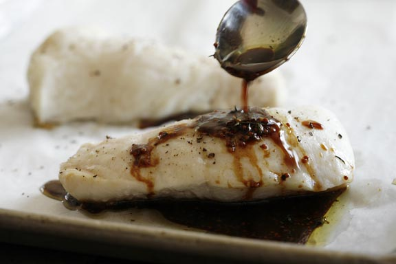 Roasted Halibut with Rosemary Vinaigrette