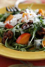 Winter Salad with Persimmons, Dates, Spiced Walnuts and Sherry Vinaigrette