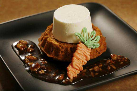 Individual Carrot Cakes with Cream Cheese Ice Cream and Praline Sauce