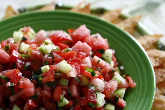 Watermelon, Tomato, and Cucumber Salsa