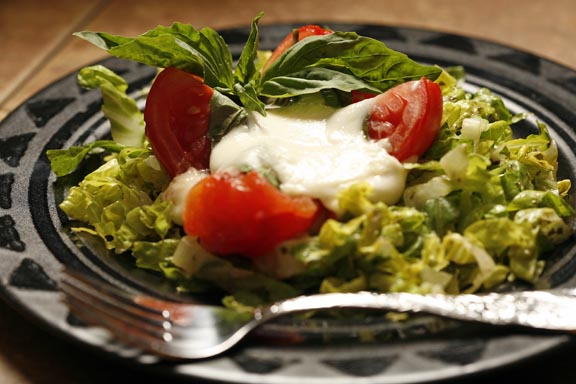 Warm Salad Caprese on Romaine Chiffonade