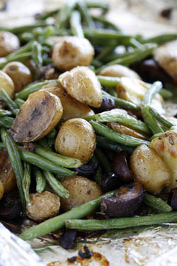 Roasted Baby Potatoes with Mushrooms and Green Beans
