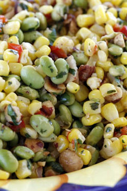 Corn and Edamame Succotash with Hazelnuts