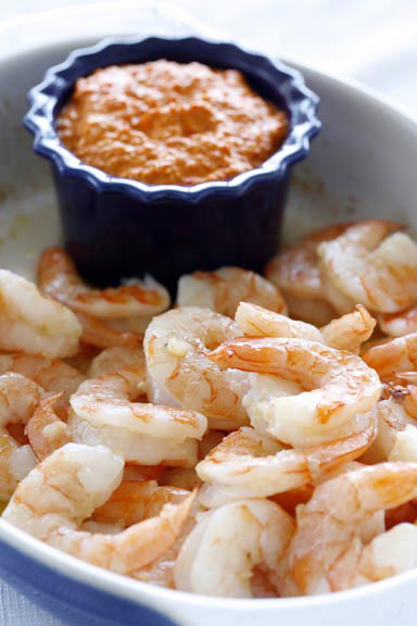 Baked Shrimp with Romesco Sauce