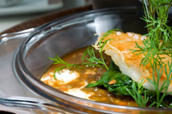 Steamed Halibut with Thai Red Curry Sauce