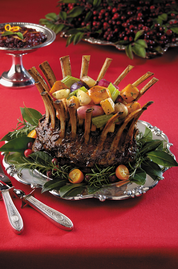 Cranberry-Balsamic Glazed Crown Roast of Lamb Stuffed with Caramelized Vegetables