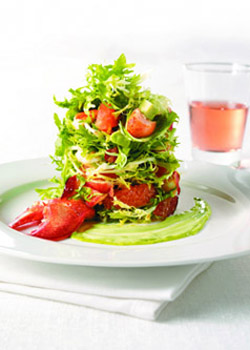 Baby Greens with Lobster, Avocado, Pink Grapefruit and Brown Sugar Bacon