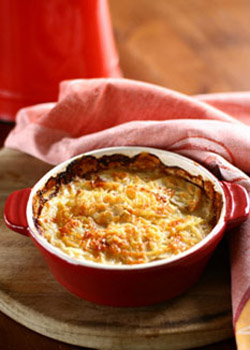 Pumpkin and Potato Gratin with Bacon and Gruyère Cheese