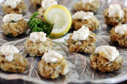 Mini Catfish Cakes with Peachy Tartar Sauce