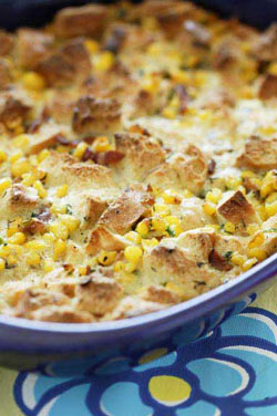 Corn and Cream Savory Bread Pudding