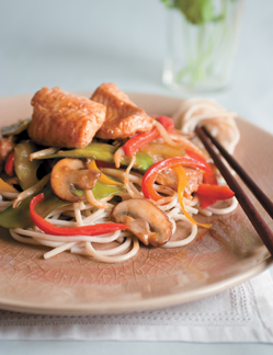 Spicy Asian Catfish with Stir-Fried Vegetables