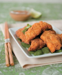Spicy Catfish Strips with Thai Peanut Dipping Sauce