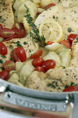 Chicken with Lemon, Artichokes, and Grape Tomatoes