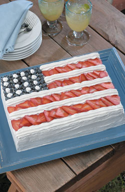 American Flag Cake with Mascarpone Whipped Frosting