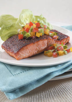 Dry Rub Barbecue Salmon with Relish