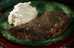 Garlic-Herb Prime Rib with Red Wine Jus