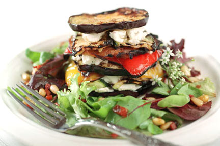 Grilled Vegetable Towers with Wilted Greens and Prosciutto Pine Nut Vinaigrette