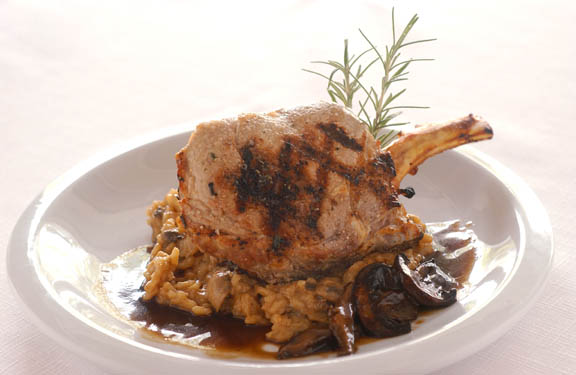 Grilled Veal Chops with Mushroom Wine Sauce
