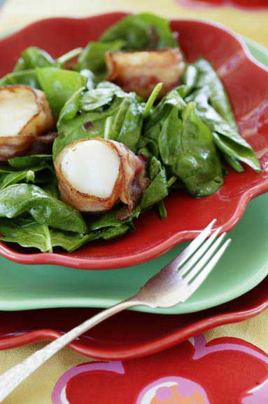 Spinach Salad with Bacon-Wrapped Scallops and Sweet Bacon Vinaigrette