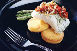 Roasted Sea Bass with Tomato-Fennel Confit