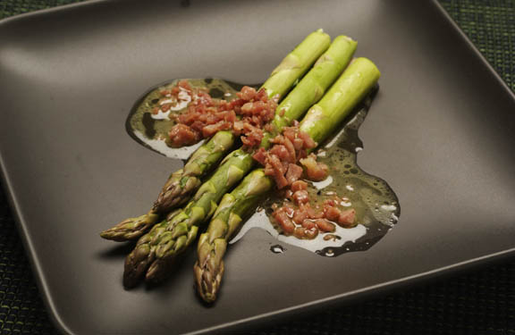 Warm Asparagus Salad with Country Ham Vinaigrette