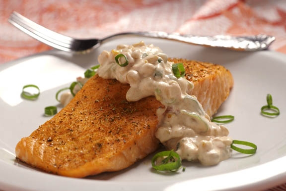 Baked Salmon with Roasted Corn and Tomato Remoulade