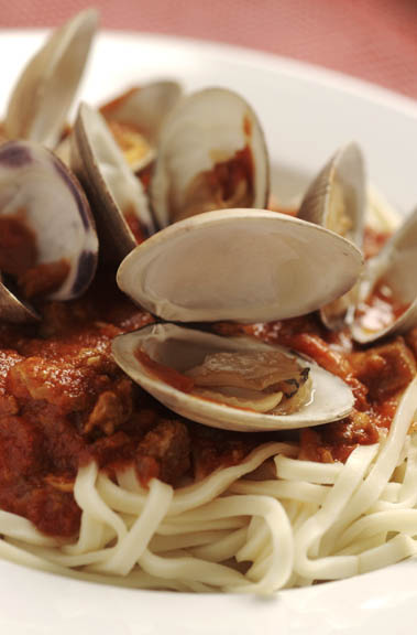 Spicy Chorizo-Clam Sauce on Pasta