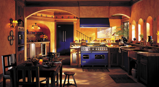 Viking appliances in blue