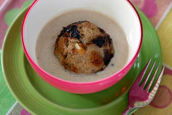 Banana-Coconut Soup with Floating Islands of Chocolate Bread Pudding