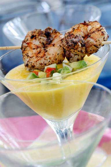 Mango Gazpacho with Spiced Shrimp Skewers