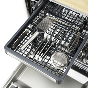 Removable upper third rack accommodates large cutlery and utensils.