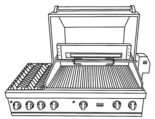 Vinyl 53 inch cover for built in grill with sideburners for Viking built in grill