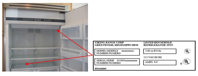 refrigerator model number location refrigerator numbers