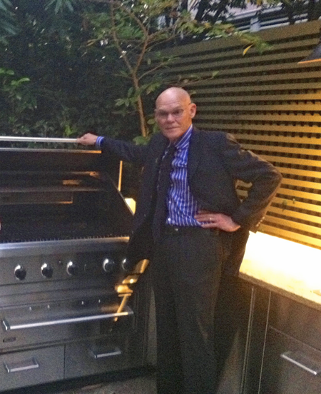James Carville Stands Next to Viking Grill