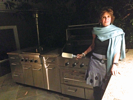 Mary Matalin Stands Next to Viking Grill
