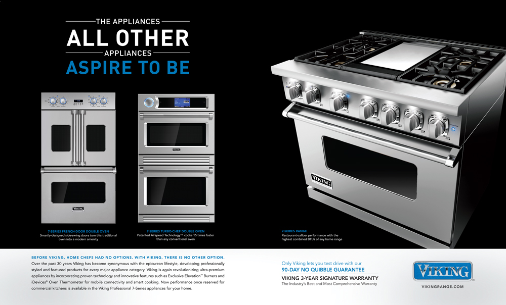 Retail Ad in BWM Magazine Features Viking Professional French-Door Double Oven, TurboChef Double Oven, and 7 Series Freestanding Range